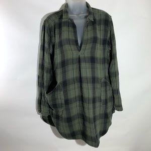 CP Shades Plaid Teton Tunic Top Green Cotton